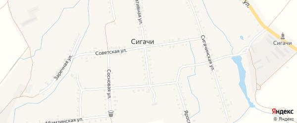 Продольная улица на карте деревни Сигачи с номерами домов