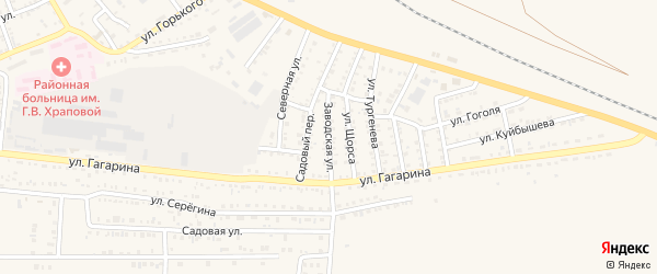 Заводская улица на карте Харабали с номерами домов