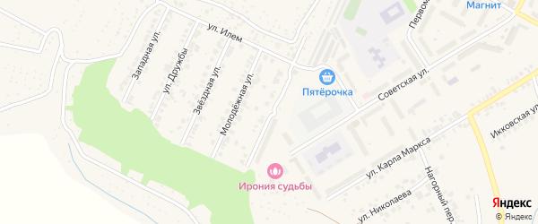 Спортивная улица на карте поселка Кугеси с номерами домов