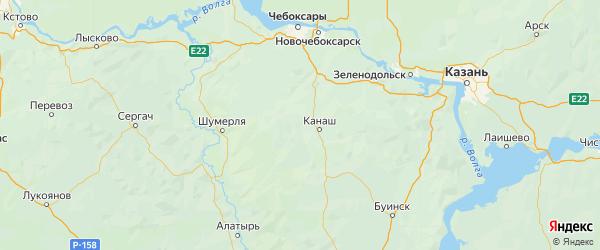 Карта Канашского района республики Чувашия с городами и населенными пунктами