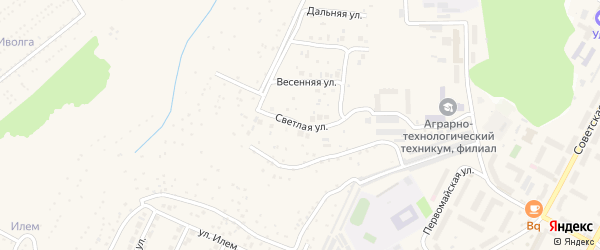 Светлая улица на карте поселка Кугеси с номерами домов