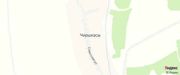 Пионерская улица на карте деревни Чиршкас с номерами домов