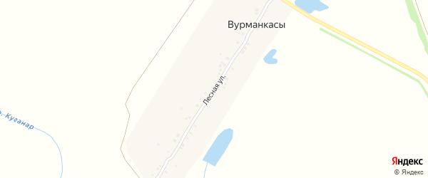 Лесная улица на карте деревни Вторые Вурманкасы с номерами домов