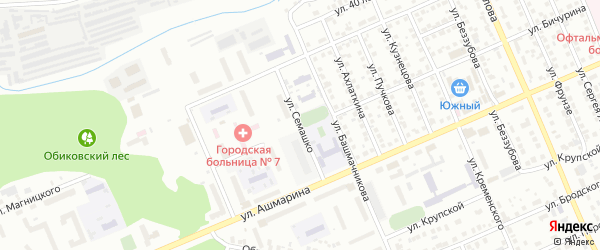 Улица Семашко на карте Чебоксар с номерами домов