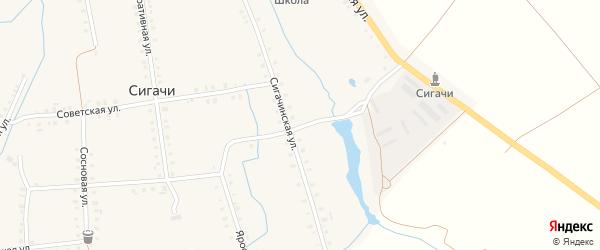 Переулок Механизаторов на карте деревни Сигачи с номерами домов