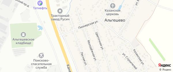 Молодежная улица на карте села Альгешево с номерами домов