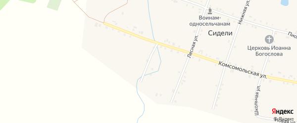 Комсомольский переулок на карте деревни Сидели с номерами домов