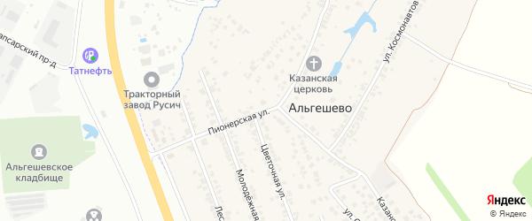 Пионерская улица на карте села Альгешево с номерами домов