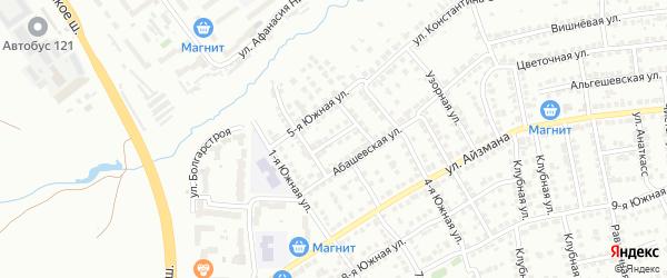Южный переулок на карте Чебоксар с номерами домов