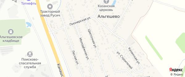 Цветочная улица на карте села Альгешево с номерами домов