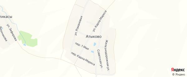 Карта деревни Атыково в Чувашии с улицами и номерами домов