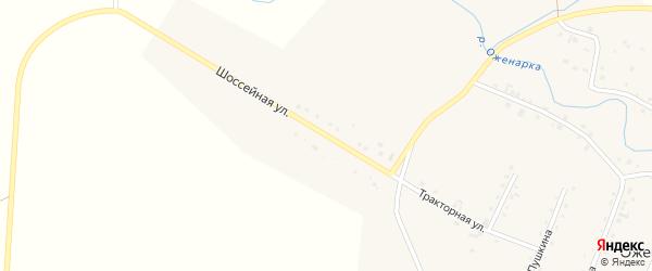 Шоссейная улица на карте деревни Оженары с номерами домов