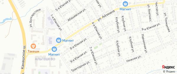 8-я Южная улица на карте Чебоксар с номерами домов