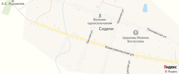 Лесная улица на карте деревни Сидели с номерами домов