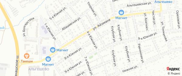 4-я Южная улица на карте Чебоксар с номерами домов