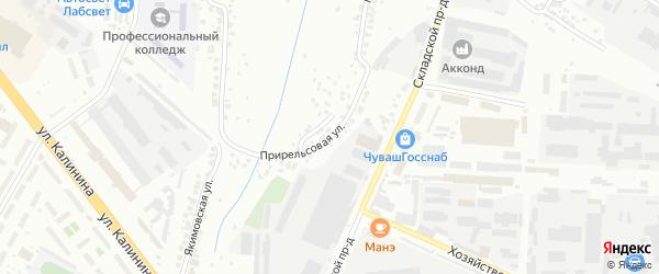 Прирельсовая улица на карте Чебоксар с номерами домов
