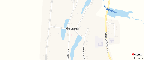 Улица Гагарина на карте села Янгличи с номерами домов