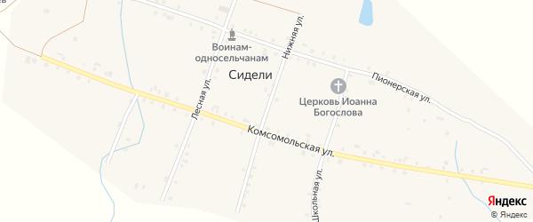 Нижняя улица на карте деревни Сидели с номерами домов