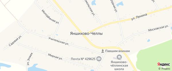Набережная улица на карте деревни Яншихова-Челл с номерами домов