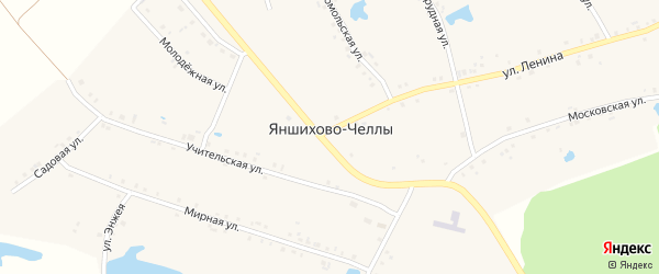 Мирная улица на карте деревни Яншихова-Челл с номерами домов