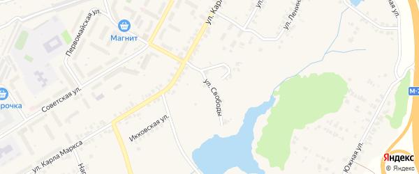 Улица Свободы на карте поселка Кугеси с номерами домов