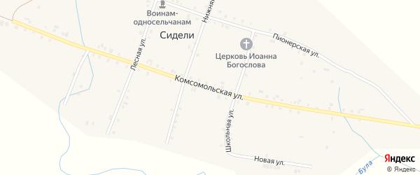 Комсомольская улица на карте деревни Сидели с номерами домов