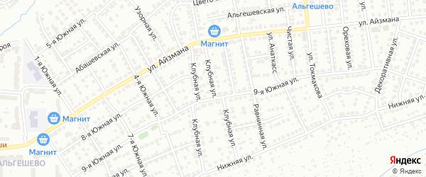 Клубная улица на карте Чебоксар с номерами домов