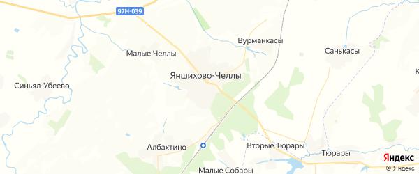 Карта Яншихово-Челлинское сельского поселения республики Чувашия с районами, улицами и номерами домов