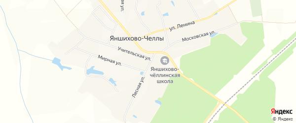 Лесное СТ на карте Яншихово-Челлинское сельского поселения с номерами домов
