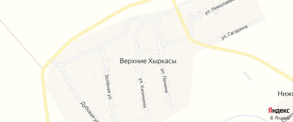Зеленая улица на карте деревни Верхние Хыркасы с номерами домов