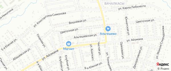 Альгешевская улица на карте Чебоксар с номерами домов