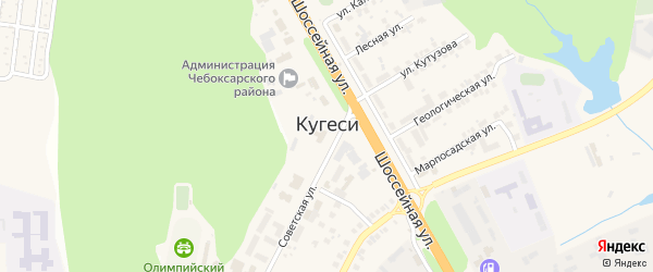 Кедровая улица на карте поселка Кугеси с номерами домов