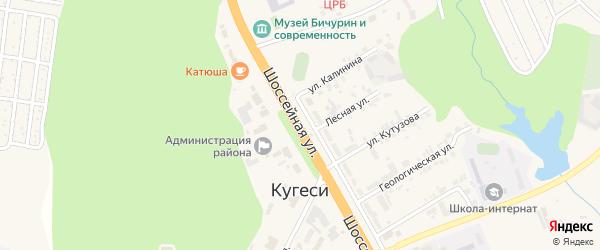 Шоссейная улица на карте поселка Кугеси с номерами домов