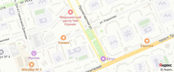 Пролетарская улица на карте Чебоксар с номерами домов