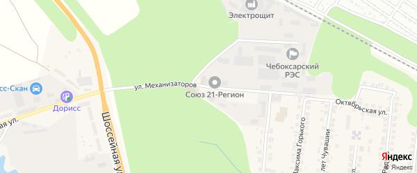 Улица Механизаторов на карте поселка Кугеси с номерами домов