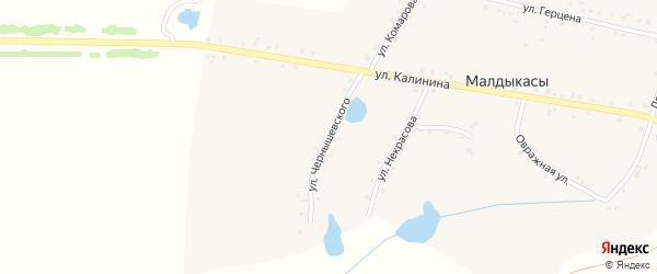 Улица Чернышевского на карте деревни Малдыкас с номерами домов
