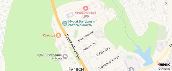 Улица Калинина на карте поселка Кугеси с номерами домов