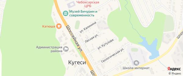 Лесная улица на карте поселка Кугеси с номерами домов