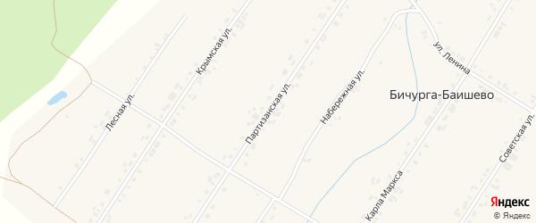 Партизанская улица на карте села Бичурга-Баишево с номерами домов