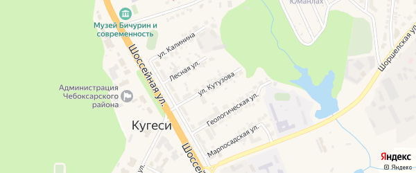 Улица Кутузова на карте поселка Кугеси с номерами домов