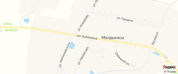 Улица Калинина на карте деревни Малдыкас с номерами домов