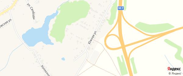 Южная улица на карте поселка Кугеси с номерами домов