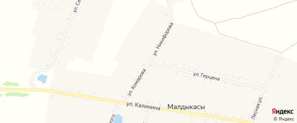 Улица Никифорова на карте деревни Малдыкас с номерами домов