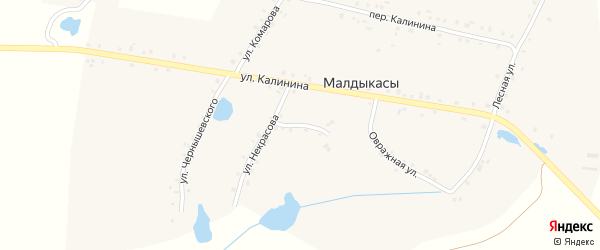 Переулок Некрасова на карте деревни Малдыкас с номерами домов
