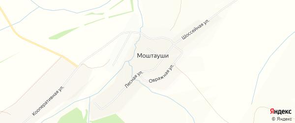 Карта деревни Моштаушей в Чувашии с улицами и номерами домов