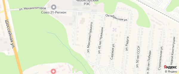 Улица Максима Горького на карте поселка Кугеси с номерами домов
