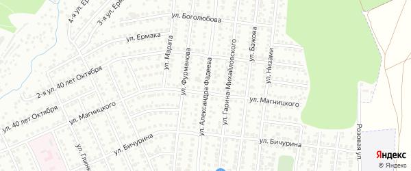 Улица Александра Фадеева на карте Чебоксар с номерами домов