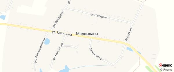 Улица Некрасова на карте деревни Малдыкас с номерами домов