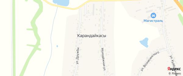 Молодежная улица на карте деревни Карандайкас с номерами домов