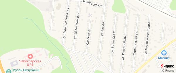Садовая улица на карте поселка Кугеси с номерами домов